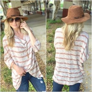 Mocha and Rust Striped Cowl Neck Tunic